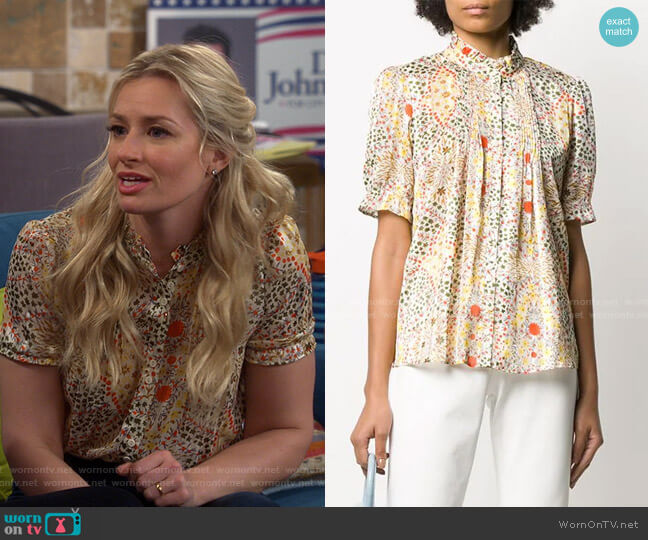 Hippy Floral Print Blouse by Ba&Sh worn by Gemma (Beth Behrs) on The Neighborhood
