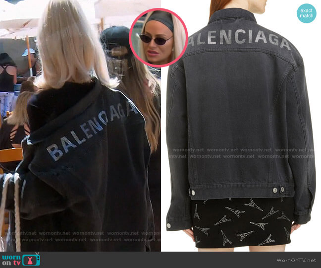 Embellished Logo Denim Jacket by Balenciaga worn by Dorit Kemsley  on The Real Housewives of Beverly Hills