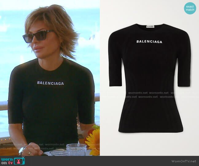 Printed Stretch-Jersey Top by Balenciaga worn by Lisa Rinna  on The Real Housewives of Beverly Hills
