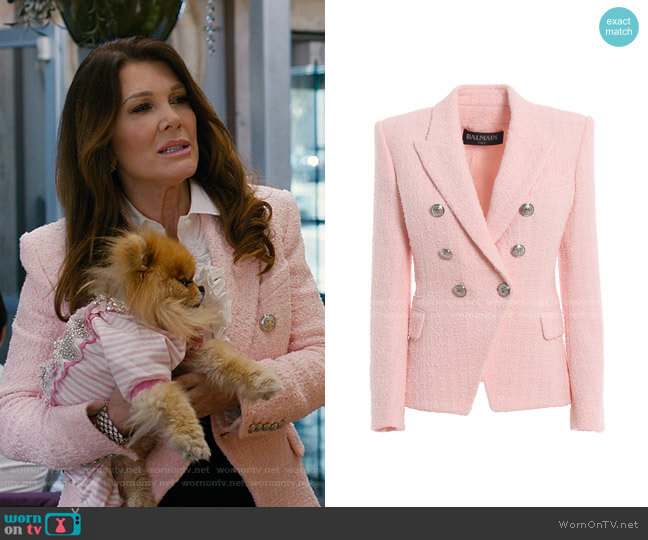 Cotton Blend Tweed Blazer by Balmain worn by Lisa Vanderpump on American Housewife