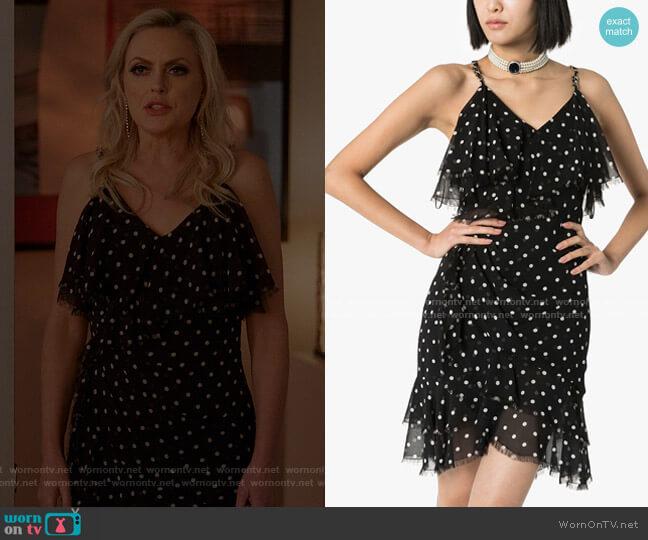 Polka Dot Ruffle Mini Dress by Balmain worn by Alexis Carrington (Elaine Hendrix) on Dynasty
