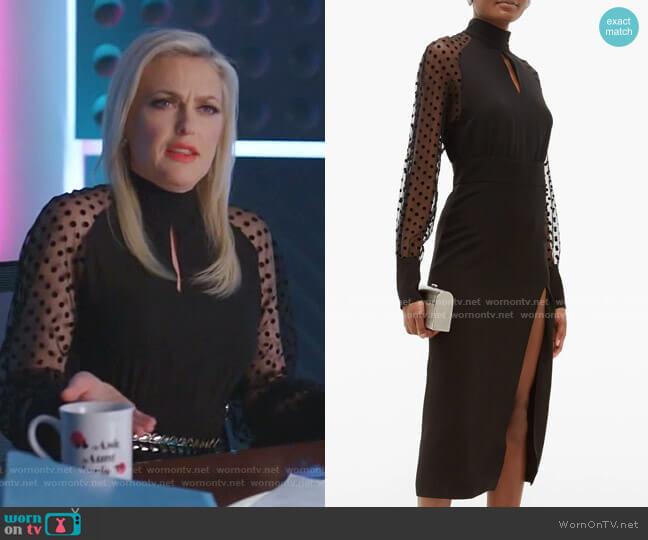 Polka-Dot Sleeve Dress by Balmain worn by Alexis Carrington (Elaine Hendrix) on Dynasty