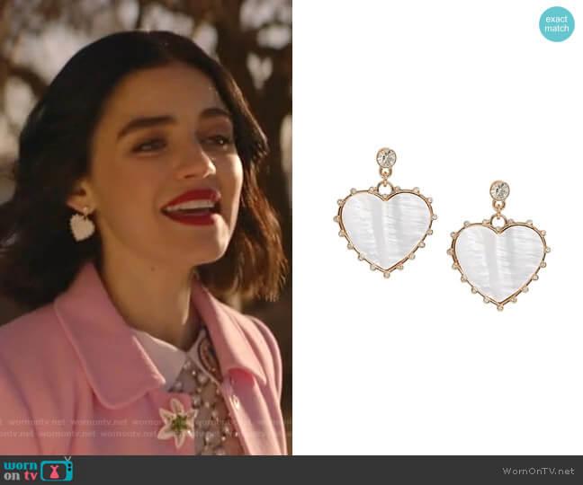 Mother of Pearl Heart Drop Earrings by Banana Republic worn by Katy Keene (Lucy Hale) on Katy Keene