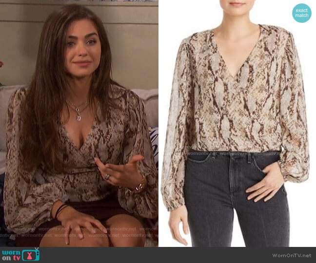 Snake-Print Faux Wrap Blouse by Bardot worn by Ciara Brady (Victoria Konefal) on Days of our Lives