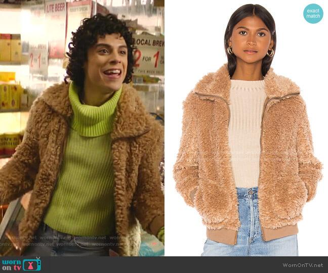 BB Dakota Teddy Or Not Faux Fur Bomber Jacket worn by Jorge Lopez (Jonny Beauchamp) on Katy Keene
