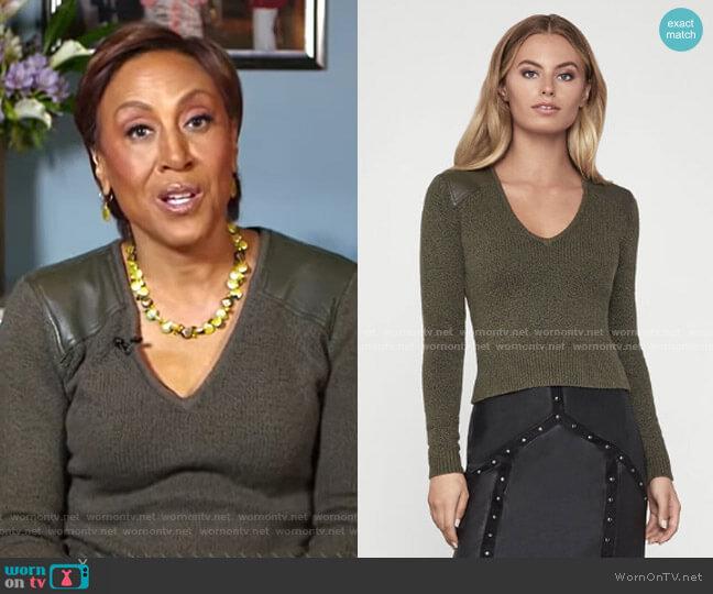 Pleather Trim Sweater by Bcbgmaxazria worn by Robin Roberts  on Good Morning America