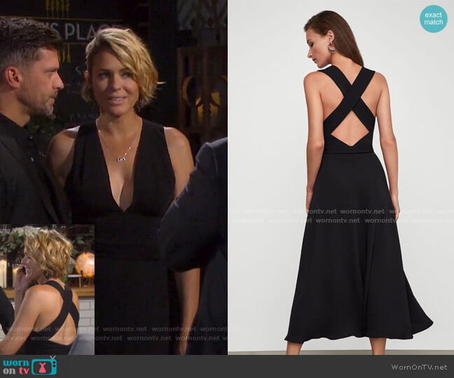 Crisscross Back Satin Dress by Bcbgmaxazria worn by Nicole Walker (Arianne Zucker) on Days of our Lives
