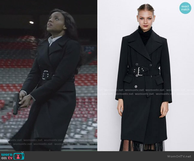Zara Belted Double-Breasted Coat worn by Sohpie Moore (Meagan Tandy) on Batwoman
