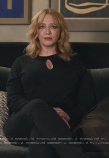 Beth's black keyhole sweater on Good Girls
