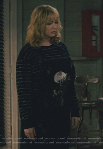 Beth's navy stripe sweater on Good Girls