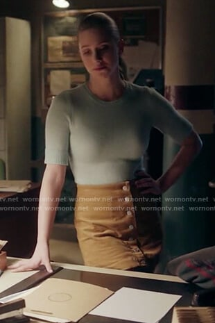 Betty's mustard corduroy skirt on Riverdale