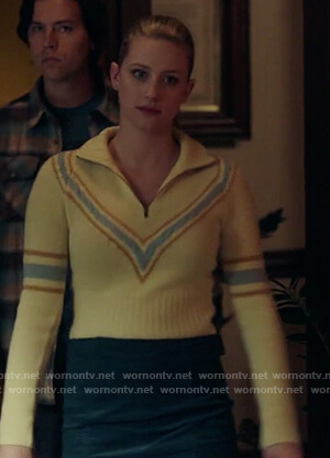 Betty's yellow chevron cropped sweater on Riverdale