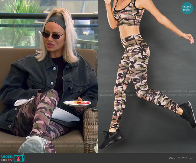 Palm Camo Mid Rise Leggings by Beverly Beach worn by Dorit Kemsley  on The Real Housewives of Beverly Hills
