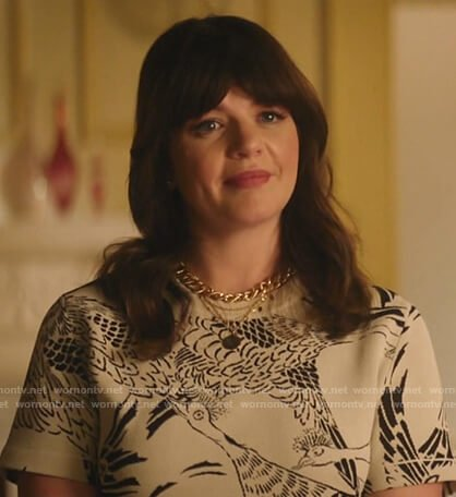 Casey Wilson's white phoenix print top on Katy Keene