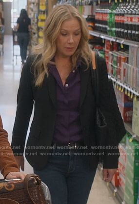 Jen's black blazer on Dead to Me