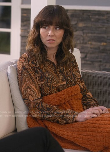 Judy's black paisley print blouse on Dead to Me
