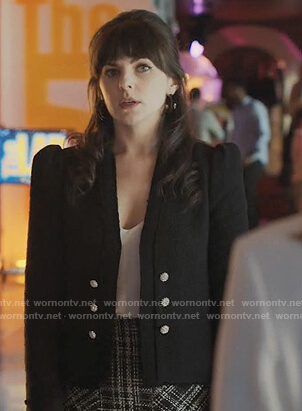 Pipper's black puff shoulder blazer on The Baker and the Beauty