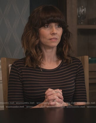 Judy's black striped tee on Dead to Me