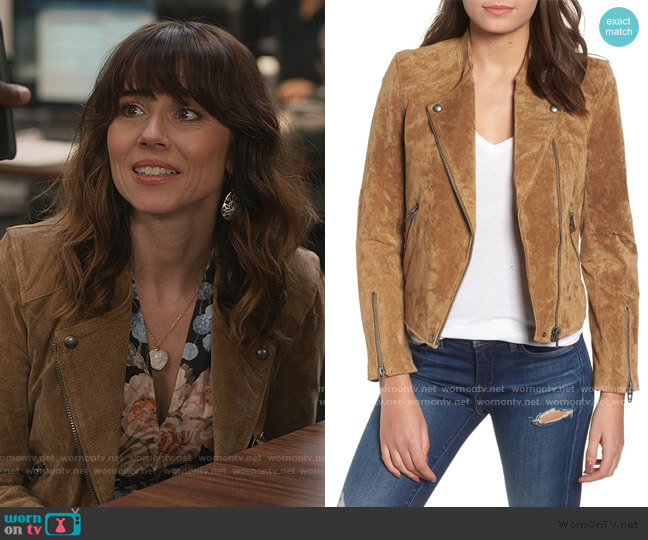 Suede Moto Jacket by BlankNYC worn by Judy Hale (Linda Cardellini) on Dead to Me