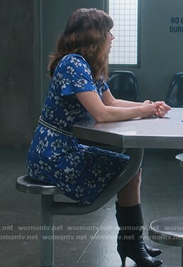 Judy's blue floral dress on Dead to Me