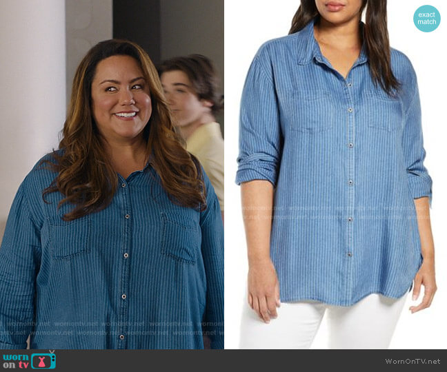 Stripe Shirt by Caslon worn by Katie Otto (Katy Mixon) on American Housewife