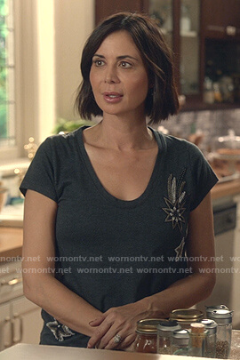 Cassie's grey star embroidered tee on Good Witch
