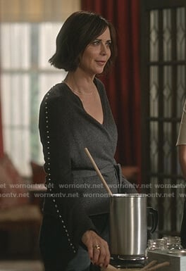 Cassie's grey studded wrap cardigan on Good Witch