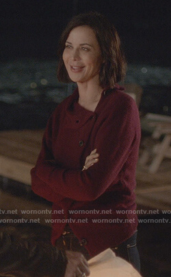 Cassie's red asymmetric button cardigan on Good Witch