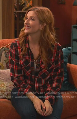 Chelsea's black and red plaid button down shirt on Ravens Home