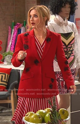 Chelsea's red striped dress and bead embellished blazer on Ravens Home