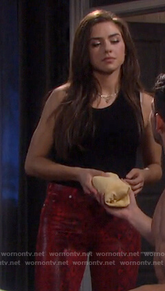 Ciara's red snake print pants on Days of our Lives
