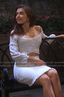 Ciara's striped smocked off-shoulder top and skirt on Days of our Lives