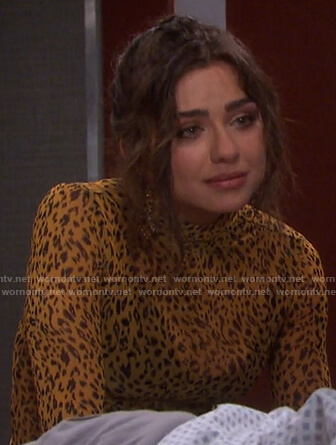 Ciara's yellow leopard print turtleneck top on Days of our Lives