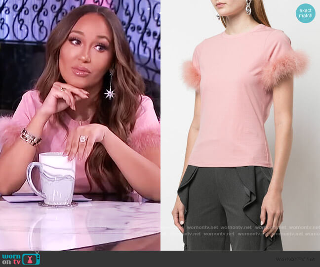 Zoie feather trim T-shirt by Cinq a Sept worn by Adrienne Houghton  on The Real