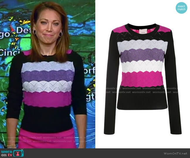 Skylar Sweater by Cinq a Sept worn by Ginger Zee  on Good Morning America