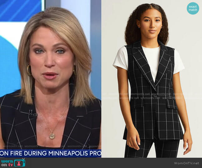 Classic Grid Plaid Vest by Argent worn by Amy Robach  on Good Morning America