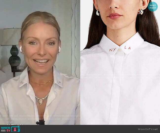 Claudine Embroidered Cotton Poplin Blouse by Maison Labiche worn by Kelly Ripa  on Live with Kelly & Ryan