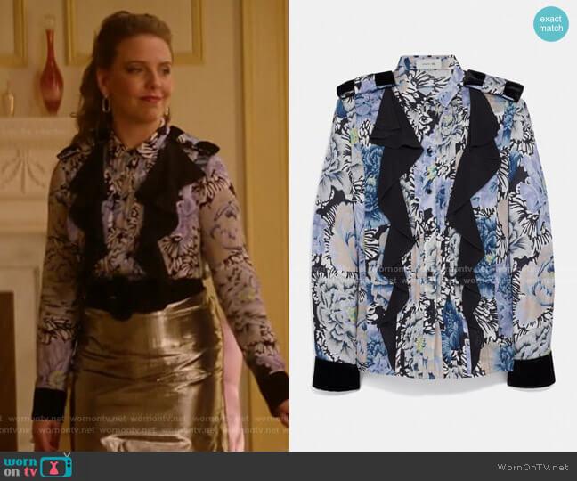 Pleated Blouse With Kaffe Fassett Print by Coach worn by Amanda (Helene Yorke) on Katy Keene