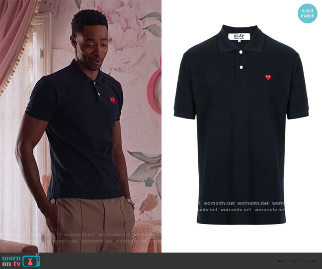 branded short-sleeved polo shirt by Comme des Gargons worn by Jay Ellis on Insecure