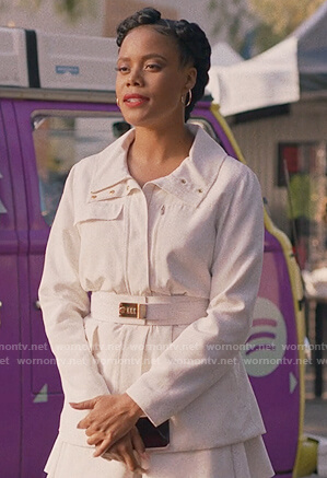 Condola's white belted jacket and skirt on Insecure