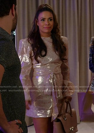 Cristal's metallic floral dress on Dynasty