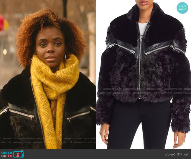 Curly Zip-Detail Faux-Fur Coat by The Kooples worn by Josie McCoy (Ashleigh Murray) on Katy Keene