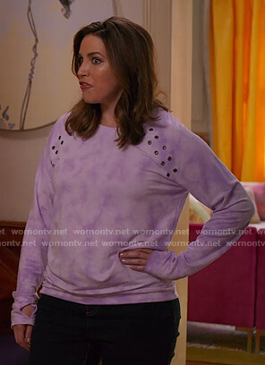 Cyndee's purple tie dye grommet sweatshirt on Unbreakable Kimmy Schmidt