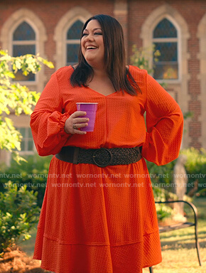 Dana's orange textured v-neck dress on Sweet Magnolias
