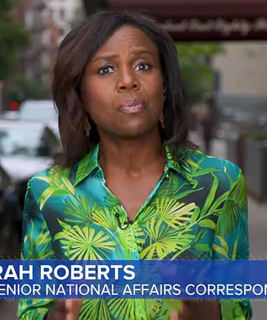 Deborah's green leaf print blouse on Good Morning America