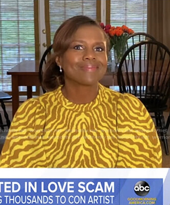 Deborah's yellow zebra print sweater on Good Morning America