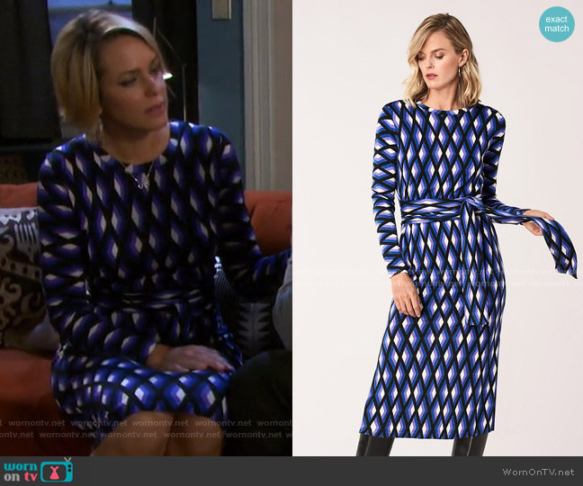 Gabel Merino Wool Belted Dress by Diane von Furstenberg worn by Nicole Walker (Arianne Zucker) on Days of our Lives