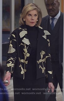 Diane's black floral metallic blazer on The Good Fight