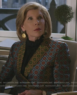 Diane's geometric print blazer on The Good Fight