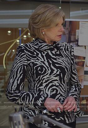Diane's zebra peplum blazer on The Good Fight